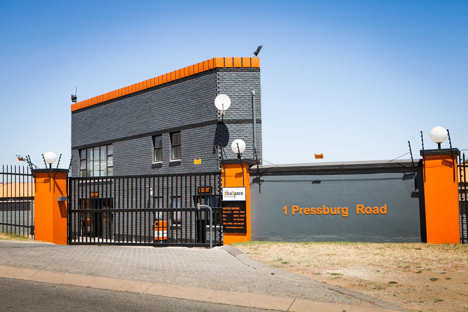 Street view of the XtraSpace Edenvale North storage facility
