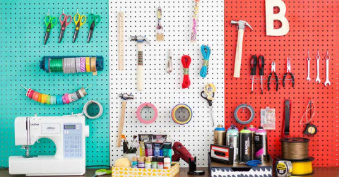 storing craft supplies peg board clever tips